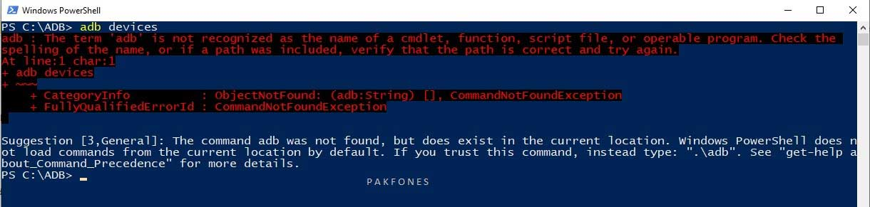 adb command error on windows 10